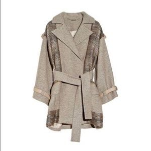 {Matthew Williamson} Paneled Wool Jacquard Coat